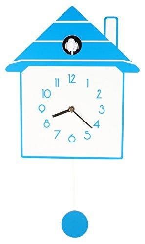 JUSTIME Stylish Creative Modern Slow Swing Non-ticking Pendulum Wood Cuckoo Wall Clock, Home Wall Decor (YTC0031-BE013)