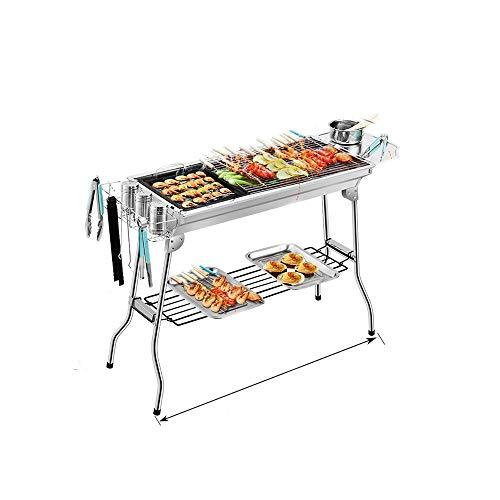 Kaiyitong Barbecue, Stainless Steel Charcoal Grill, Portable Folding Outdoor Barbecue Baking Pan Cooking Utensil Set, Suitable For Camping Cocktail Party Backpack Hiking Picnic fashion