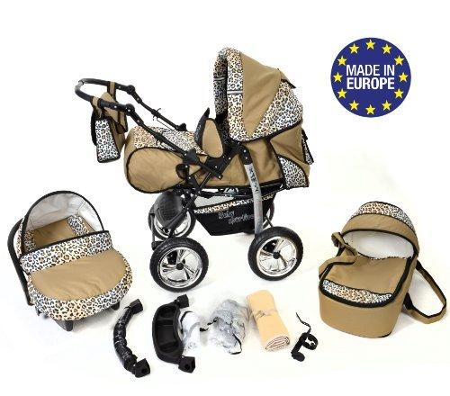 Kamil, Classic 3-in-1 Travel System with 4 STATIC (FIXED) WHEELS incl. Baby Pram, Car Seat, Pushchair & Accessories (3-in-1 Travel System, Beige & Leopard)