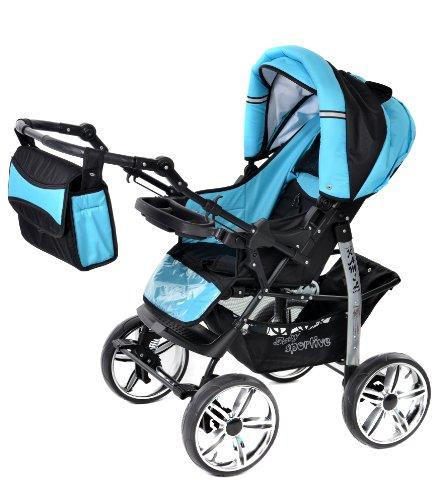 Classic 3-in-1 Travel System with 4 STATIC Kamil FIXED WHEELS incl 3-in-1 Travel System, Black & Turquise Car Seat Baby Pram Pushchair & Accessories