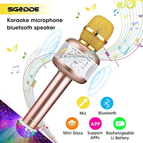 Karaoke Microphone with Disco Lights, SGODDE Wireless Bluetooth Microphones Speaker, Singing & Recording Home Party KTV Dynamic Mic Player for Kids,Ipad,iOS and Android Smart Phones