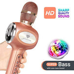 Karaoke Microphones With Disco Lights,DONGSHEN Handheld Portable Wireless Microphone Bluetooth Speaker for PC, iPhone, Android,iPad,and Party Kids.
