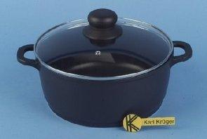 Karl Kruger Leipzig Aluguss Series Pot with Glass Lid and Thermogrips, 1.3 l, Metal, Black, 1.3 Litre