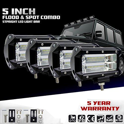 KaTur 5Inch 72W LED Light Bar Spot Beam 10800LLM Offroad Fog Lights LED Driving Work Lamp for Truck Pickup Jeep Suv Atv Utv 12V 24V Car Daytime Running Driving Lights Waterproof 4-Pack