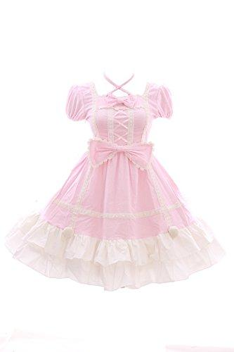 Kawaii-Story JL/628/2 Pink Spots Classic Gothic Lolita Bow Velvet Baby Doll Dress Costume Cosplay