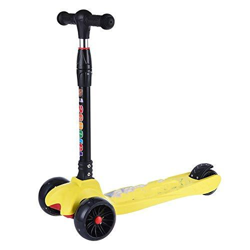 KCJMM Children scooter three-wheeled scooter flash wheel lift folding scooter can sit 3 wheel yo car baby pedal child skate block beginner,yellow
