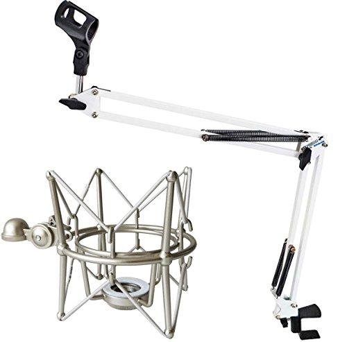 Keepdrum, NB35 WH white, jointed arm microphone tripod and MS088 microphone spider, silver, for Rode microphones