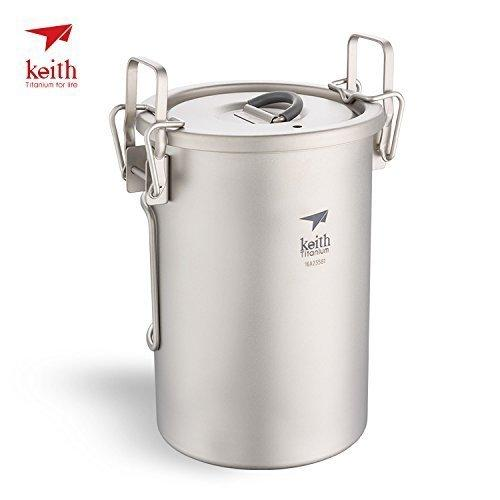 Keith Ti6300 900ml Titanium Pot Foldable Handle Multipurpose Titanium Rice Cooker
