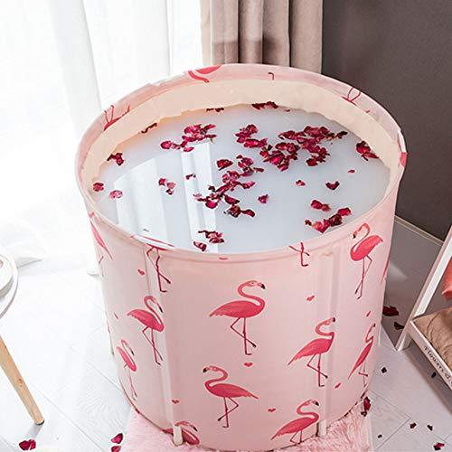 KELIXU Folding Portable Bathtub, Foldable Soaking Bath Tub for Shower Stall, Thickening with Thermal Foam to Keep Temperature, Easy to Install,No inflate,Pink