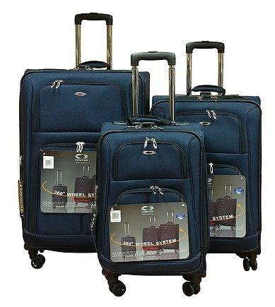 Kemyer 1000 Plus Series 3-PC Expandable Spinner Luggage Set (8 wheel- Navy)