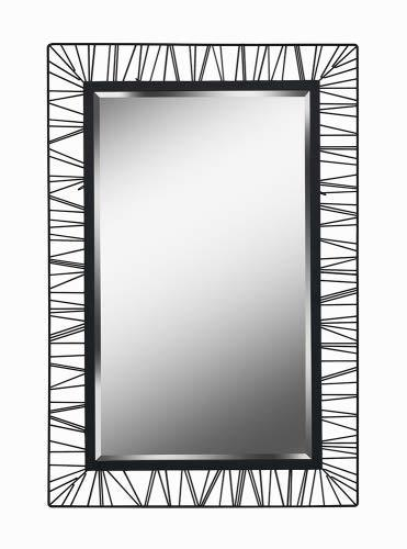 "Kenroy Home 60239 Wireframe 38"" Rectangular Bathroom Mirror, Black"