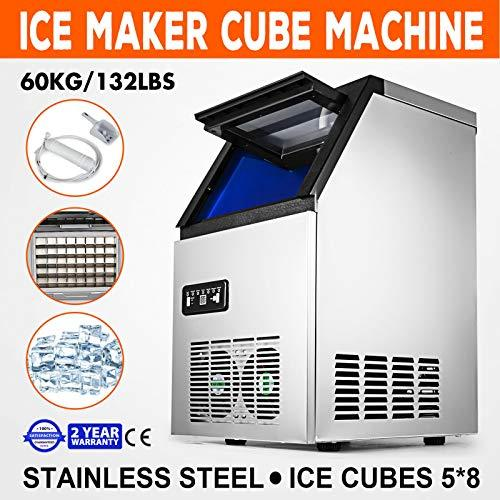 . ker Ma 60Kg/Day Ice Cube Day Ice Ice-Cream Stores Ice-Cr Refrigeration Commercial Refriger Maker Machine omm 40Case ion Commerci