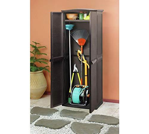 Keter Rattan Effect 627L Garden Utility Cupboard - Brown