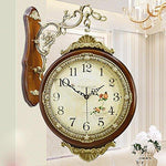 KHSKX European style oversized living room double sided wall clock copper decorative antique modern creative suitable quartz clock table Garden clock coffee 20 inches