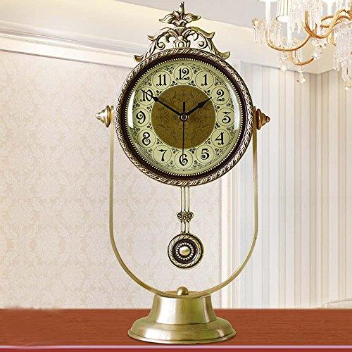 KHSKX King size brass European-style living room clocks modern quiet swing clock American-style villas desktop quartz watches