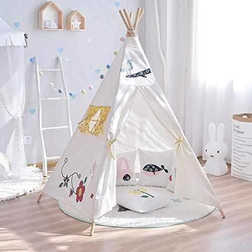 Kibten Cartoon Pentagonal Tree Kids Play Tent Teepee Cotton Canvas Pine Pole Indian Indoor Outdoor Child Play House Flower Pattern Decor Toy Game Room for Boys Girls Birthday