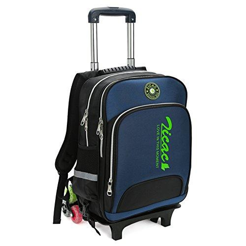 Kid Rolling School Backpack Trolley Carry on Luggage Removable Pull Rod Cabin Bag (Dark Blue)