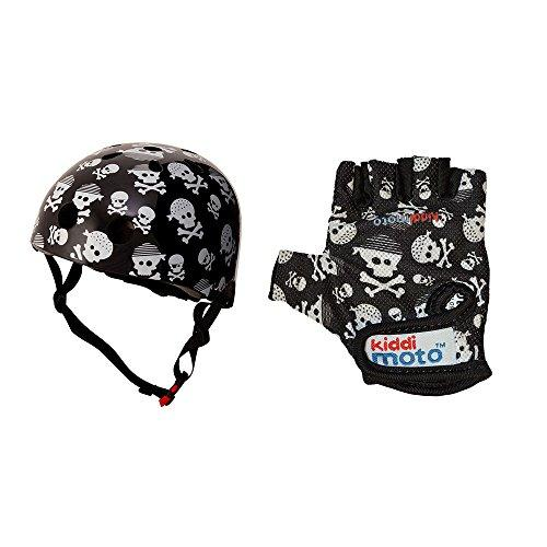 Kiddimoto Skullz Medium Helmet and Gloves (Black/White)