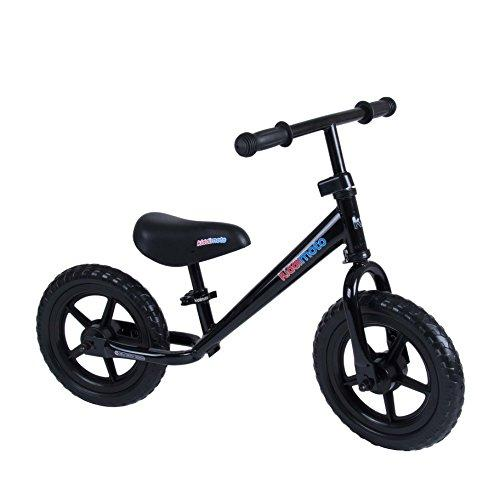 Kiddimoto Super Junior Metal Balance Bike - Lightweight - 18 Months to 5 Years Running Bike - The Easiest Way To Teach Kids To Cycle - Black