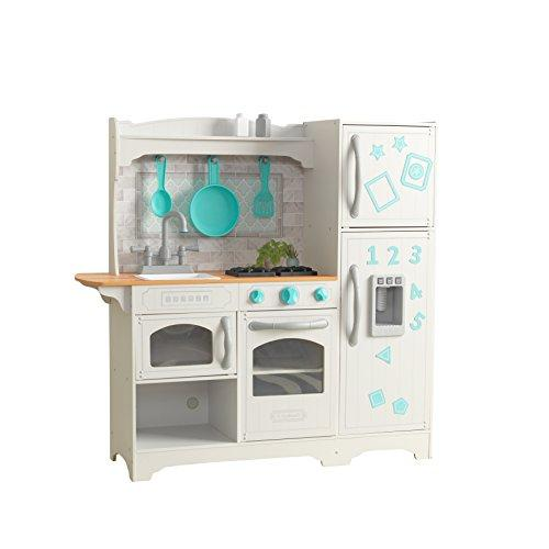 KidKraft 53424 Countryside Play Kitchen Play Wooden Pretend Play Toy  Kitchen for Kids with Ice Maker and role play accessories included - EZ  Kraft ...