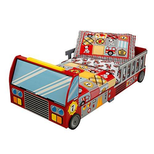 KidKraft 76031 Firetruck Kids, Toddler, Children's Bed - bedroom furniture junior wooden bed frame