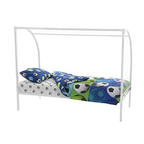 Kids 3ft Single Football Goal Metal Bed Frame With Net (White)