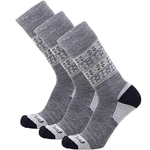 Kids Alpaca Ski Socks - Warm Wool Ski Sock for Boys and Girls - Skiing, Snowboarding, Cold Weather, Winter - (Gray - 3 Pack, XS/S)