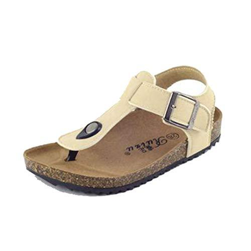 Kids Beach Sandals Summer Children's Slippers Comfortable Leather Cork Open Toe Breathable Casual Sandals Baby Outdoor Walking Sandals Beige