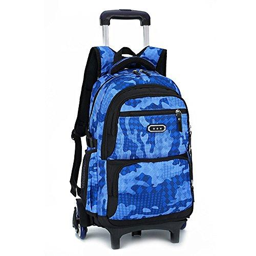 Kids Boys Girls Trolley Schoolbag Luggage Book Bags Backpack Latest Removable Children School Bags with 3 wheels Stairs,9119