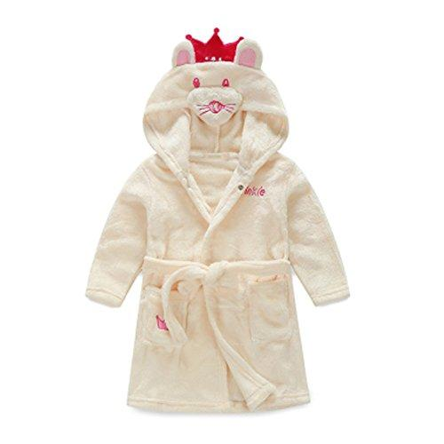Kids Cartoon Cute Hooded Robe Supersoft Nightwear Wram Bathrobes ( Buff )