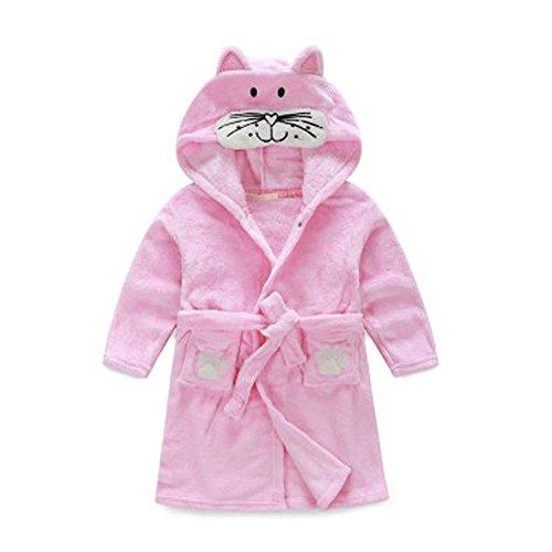 Kids Cartoon Cute Hooded Robe Supersoft Nightwear Wram Bathrobes ( Cat )