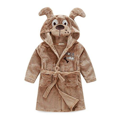 Kids Cartoon Cute Hooded Robe Supersoft Nightwear Wram Bathrobes ( Coffee )