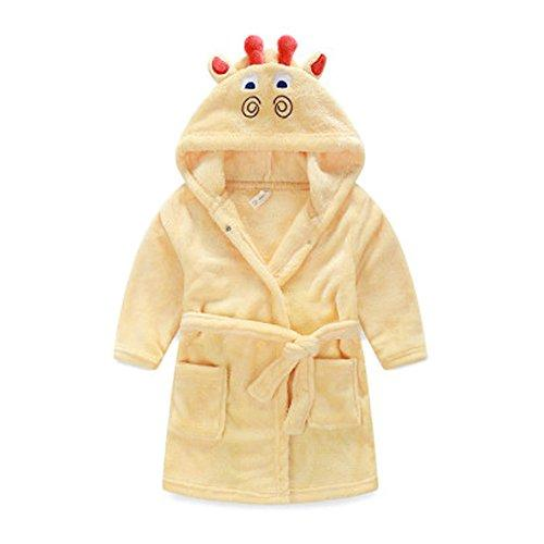 Kids Cartoon Cute Hooded Robe Supersoft Nightwear Wram Bathrobes ( Fawn )