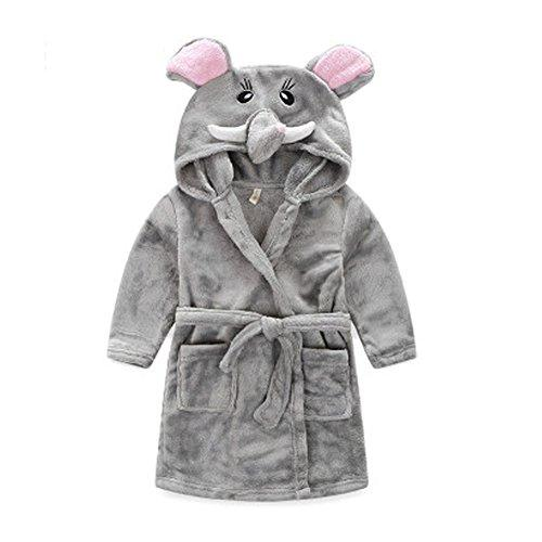 Kids Cartoon Cute Hooded Robe Supersoft Nightwear Wram Bathrobes ( Gray )