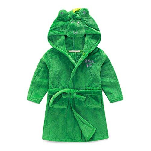 Kids Cartoon Cute Hooded Robe Supersoft Nightwear Wram Bathrobes ( Green )