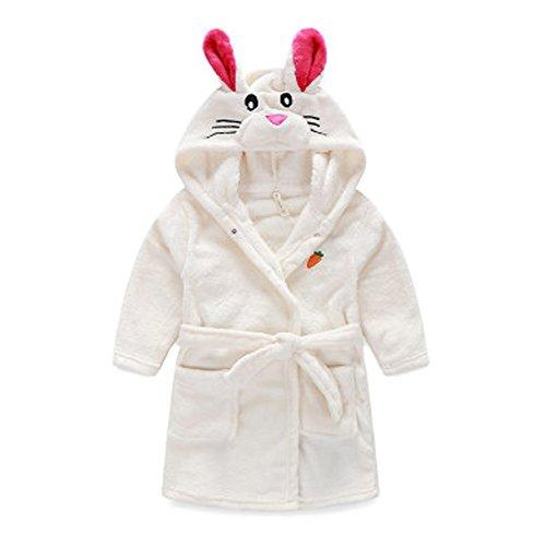 Kids Cartoon Cute Hooded Robe Supersoft Nightwear Wram Bathrobes (White)