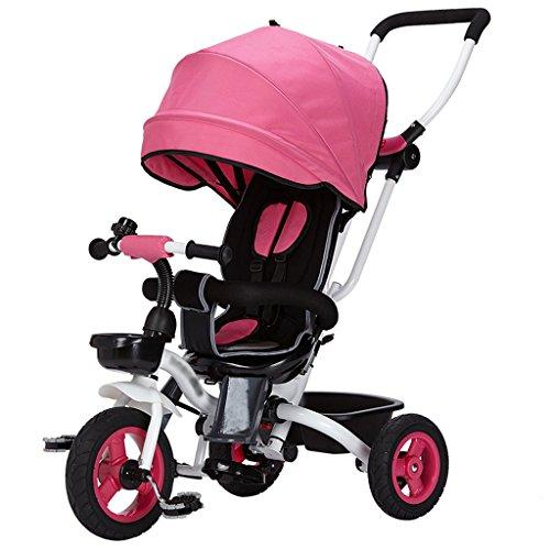 Kids Easy Steer Tricycle 3 Wheels Safe Canopy with Rotating Seat,Stroller with Oxford Cloth Pedal Baby Trolley (Color : Red)