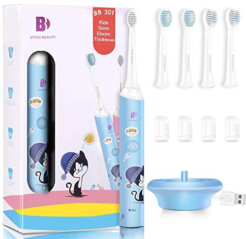 Kids Electric Toothbrush 3-12yrs Children Sonic Electric Toothbrush with 4 Replacement Brush Heads for 1 Year Use 1 Key Power on/off No e-shock Charging Base 30 Days Power Rechargeable&Waterproof-Blue