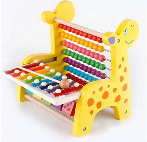 Kids Electronic Learning Toys Wooden Fawn Beaded Xylophone Knock Zither Frame Multifunctional Children's Educational Toys