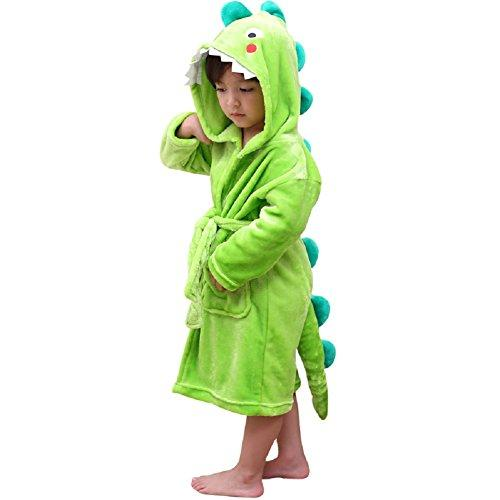 Kids Plush Hooded Bathrobe - Dinosaur Dragon Flannel Fleece Dressing Robe for Boys (Green, 3-5years)
