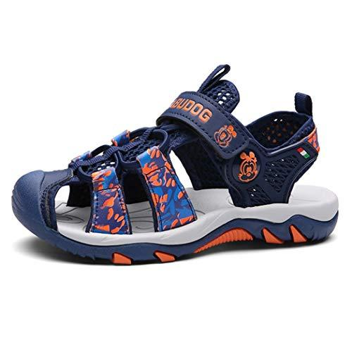 Kids Sandals Summer Collision Hiking Sandals Comfortable mesh Breathable Soft Bottom Non-Slip Sandals Outdoor Sports Sandals Beach Shoes Blue-Orange