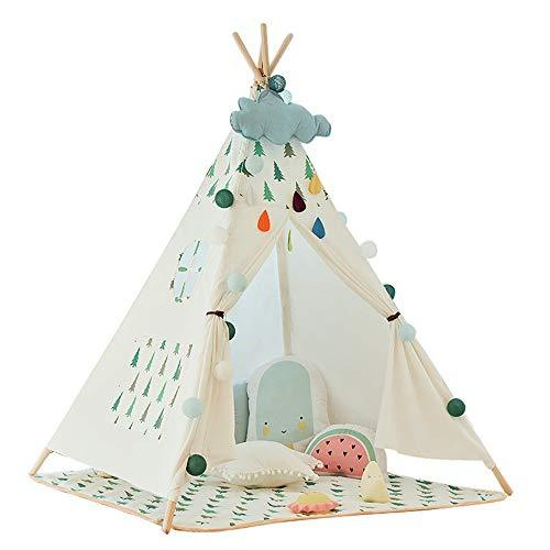 Kids Teepee Play Tent Indian Children's Tent Christmas Tree Decoration Kids Play Folding Game Tents Cotton Canvas Teepee With Mat Window Pocket For Girls Boys Babies Toddler Canvas Playhouse Indoor