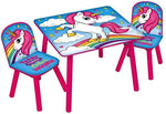 Kids Unicorn (Multicoloured) Table & 2 Chairs Set Nursery Bedroom Playroom Furniture