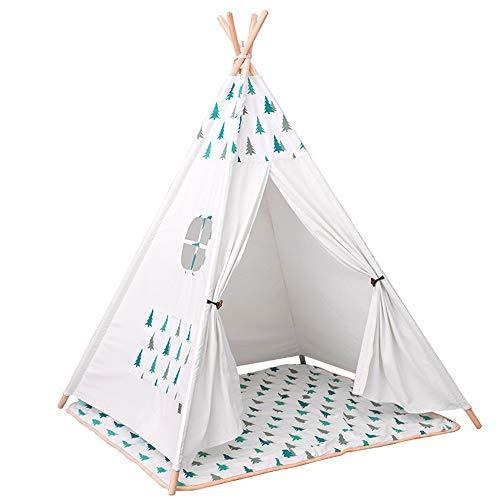 Kids Wigwam Play Tent Small Wood Tent Play House Christmas Tree Girl Holiday Decoration Tent Foldable Children's Photography Tent Teepee Camping Tent With Mat for Indoor Playroom Bedroom Nursery