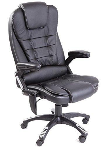 Kidzmotion leather high back reclining office/desk chair massage heat (Black)