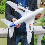 Kikioo 2.4G 3 Channel Outdoors Airbus A380 Aircraft Airplane Drone EPP Fixed Wing Gyro Remote Control RC Backward Pusher Glider Toys New for Extra Stability Toy/Game/Child/Beginner Gifts (White)