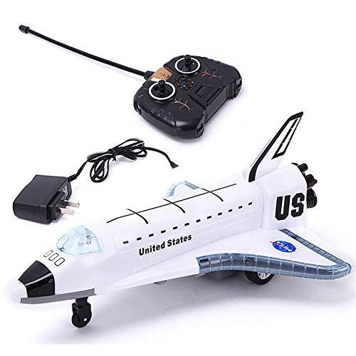 Kikioo 2.4G Hot Sell New Alloy Aircraft Toys STS-102 Electric RC Airplane Glider Remote Control Space Shuttle Civil Aviation Airbus Model Flashing Lights Engine Sounds Gift for Children Boys White