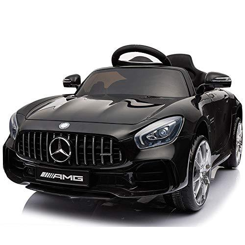 Kikioo Children's Electric Car Mercedes Authorized 4WD 12V Ride On Sport Vehicles, Remote Swing Child Baby Toy,Music Early Education Rocking Cradle Leather Seat Cover, 2.4G Bluetooth (Black)