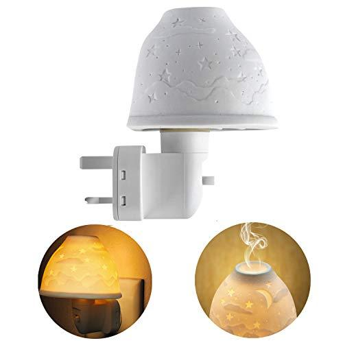 Kimfly Night Lights - Plug in Wall Ceramic Night Lighting Lamp, with Essential Oil Aromatherapy Furnace and Incandescent Bulb for Kids, Baby Room, Nurseries, Stair, Hallway(Stars & Moon(Gift-Set))