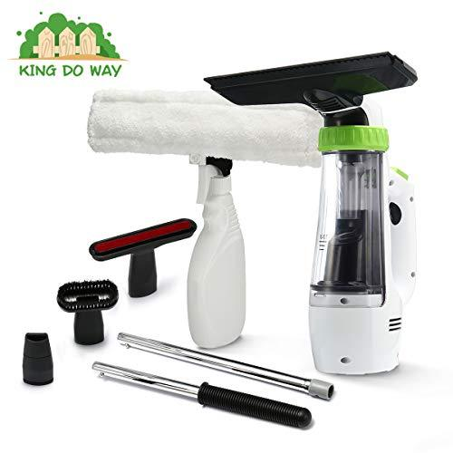 king do way Window Vacuum Cleaner Cordless Window Vac Kit for Window, Mirror, Tiles with Spray Bottle Telescopic rod, Cordless Glass Cleaner UK